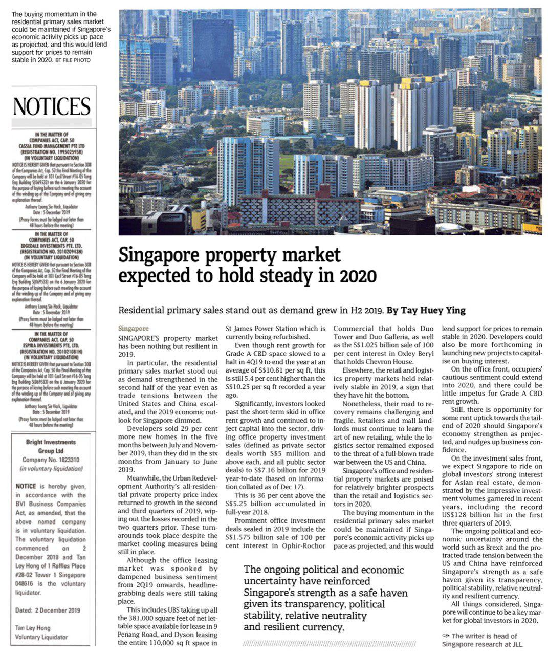 singapore-property-market-expected-to-hold-steady-in-2020