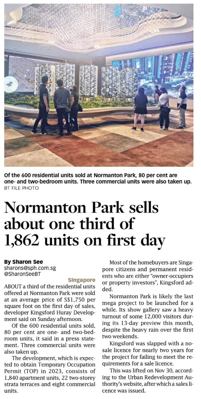 Normanton Park Sells About One Third Of 1862 Units On First Day